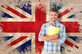 Student against union jack flag — Foto Stock