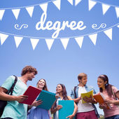 Word degree and bunting against students — Stock Photo