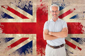 Student against union jack flag — Stock Photo