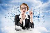 Thinking redhead businesswoman — Stock Photo