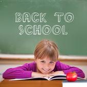 Back to school message against pupil — Foto de Stock
