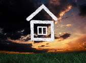 Composite image of cloud house — Stock Photo