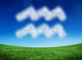 Cloud in shape of aquarius star sign — Stockfoto