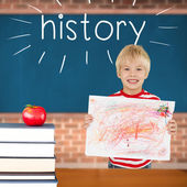 History against red apple on pile of books in classroom — Stockfoto