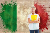 Mature student against italy flag — Stock Photo