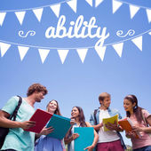 Word ability and bunting against students — Stock Photo