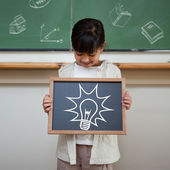 Idea and innovation graphic against pupil — Foto de Stock