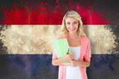 Student against netherlands flag — Stock Photo