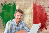 Student using laptop against italy flag — Stock Photo