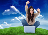 Woman in front of laptop — Stock Photo