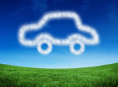 Composite image of cloud in shape of car — Stock Photo