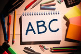 Composite image of abc on notepad — Zdjęcie stockowe