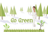 Word go green and thinking businesswoman — Stock Photo