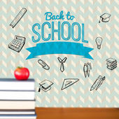 Back to school message with icons — Foto de Stock