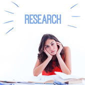 Word research against stressed student — Stock Photo