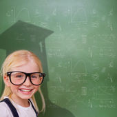 Cute pupil with graduate shadow — Stock Photo