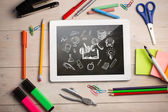 Digital tablet on students desk — Stock fotografie