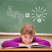 Idea and innovation graphic against pupil — Stock Photo