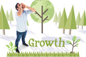 Word growth and shouting casual man — Stock Photo