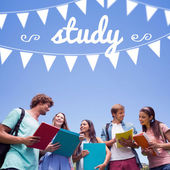 Word study and bunting against students — Stock Photo