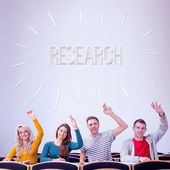 Word research against college students — Stock Photo