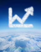 Cloud in shape of graph with arrow — Stock Photo