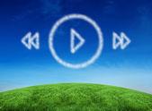 Cloud in shape of music player menu — Stock Photo
