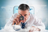 Mature businessman running diagnostics — Stock Photo