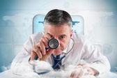 Mature businessman running diagnostics — Stock Photo