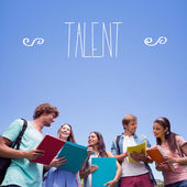 Word talent against students — Stock Photo
