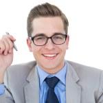 Nerdy businessman holding pen — Stock Photo #51598337