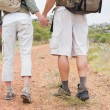 Hiking couple walking on mountain terrain — Stock Photo #51599467