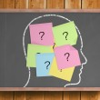 Chalk head with question mark post it notes — Stock Photo #51599469