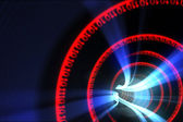 Red binary code spiral with blue light — Stock Photo
