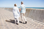 Senior couple holding hands and walking — Stock Photo