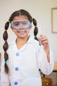 Pupil dressed up as scientist in classroom — Foto Stock