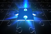 Blue glowing jigsaw piece on puzzle — Stock Photo