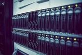 Black rack mounted server tower — Foto de Stock
