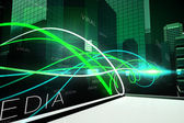 Green light wave over skyscrapers — Stock Photo