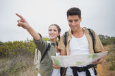 Couple with map pointing ahead on mountain terrain — Stock Photo