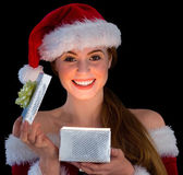 Amazed brunette in santa — Stock Photo