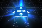 Blue solution glowing jigsaw piece on puzzle — Stock Photo