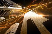 Orange light wave over skyscrapers — Stock Photo