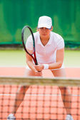 Focused tennis player ready for match — Stock Photo