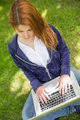 在公园里使用笔记本电脑的红发女郎 — 图库照片