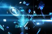 Floating digital screens in blue — Stock Photo