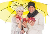 Couple in winter fashion showing autumn leaves under umbrella — Stock Photo
