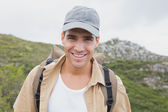 Close up portrait of a happy hiking man — Stock Photo