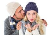 Attractive couple in winter fashion  — Stock Photo