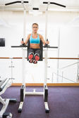 Fit woman doing crossfit fitness workout in gym — Stock Photo